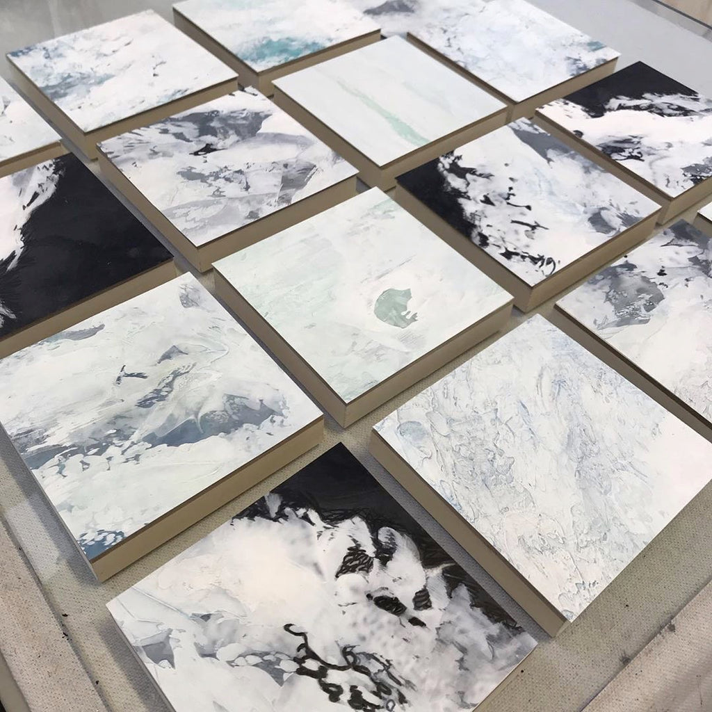 Karen McAlister Shimoda glacial paintings are part of her painted series addressing climate change.