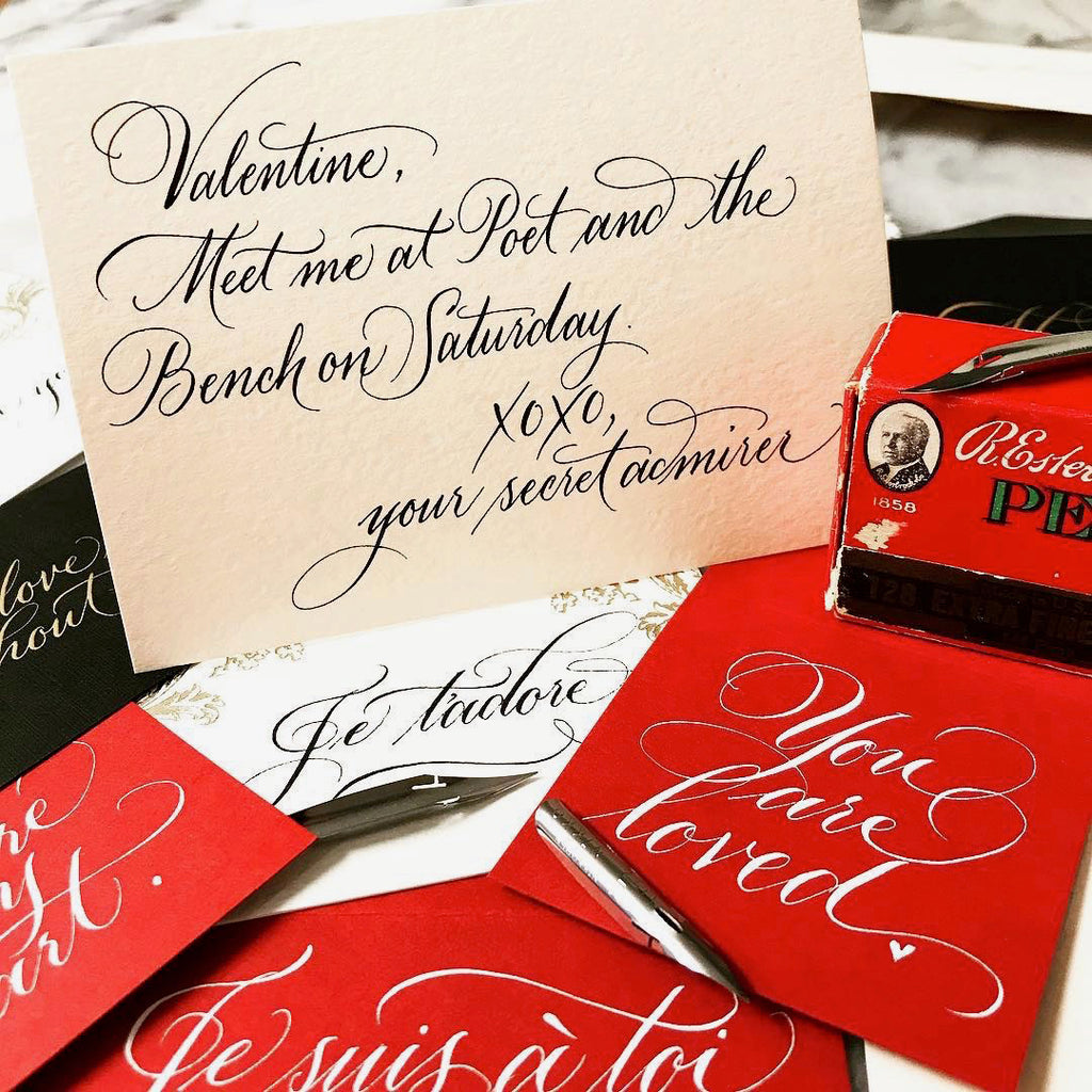 Sarah Hanna calligraphy and lettering artist will be live at Poet and the Bench addressing your valentines.