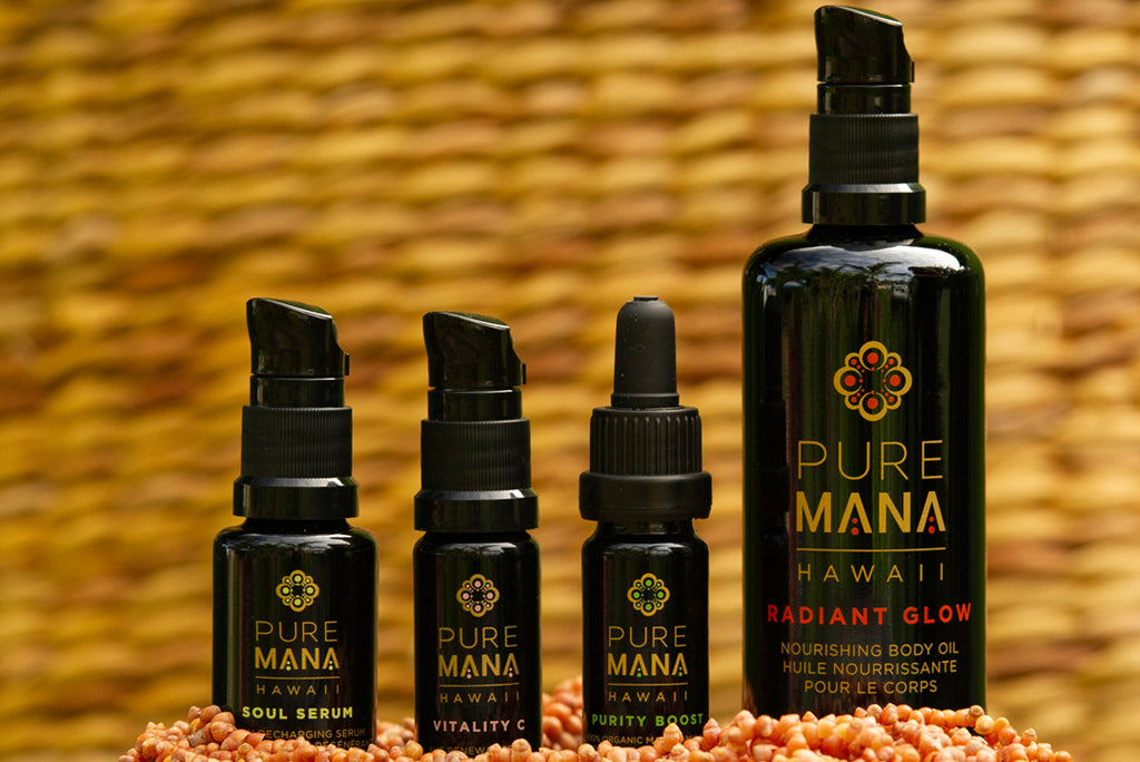 The female farmers behind Pure Mana Hawaii use wild harvested ingredients and a synergy of raw, wild macadamia nut oil and green coffee bean oil in their skincare collection.