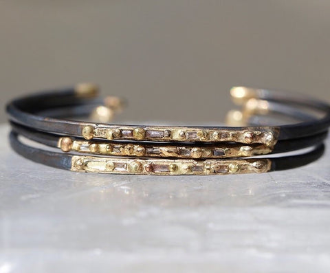 Variance Objects_Diamonds_Oxidized Cuff_14k Gold