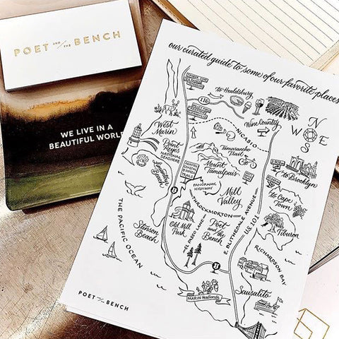 Poet and the Bench Bespoke Map of Mill Valley, West Marin, Stinson Beach, Wine Country, Cheese Trail, Sea Ranch