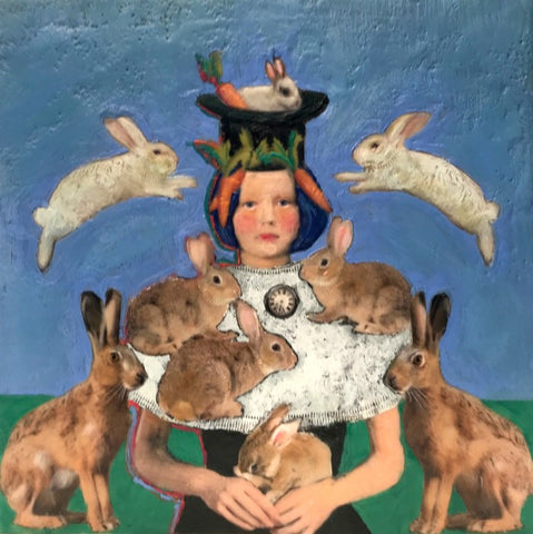 Linda Benenati_Encaustic Painting_Whole lot of Rabbits Going on
