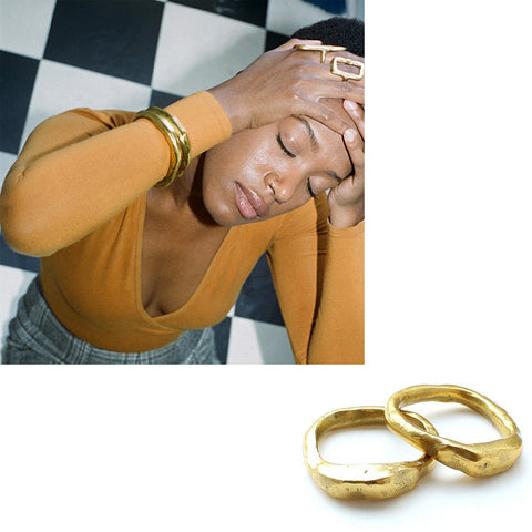 Nan Collymore_Jewelry_Brass Rings_Bangles_Poet and the Bench