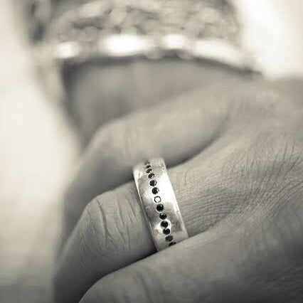 Jeffrey's hand carved style makes this perfectly imperfect unisex wide ring a stunning stacker with black diamonds.