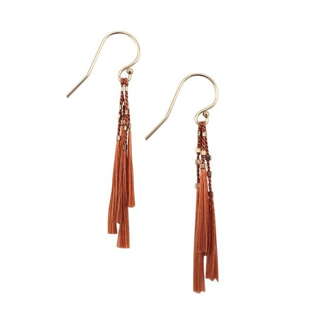 "Playful yet romantic, these weightless earrings highlight Abacus Row's signature materials – silk cord and 14k gold-filled components. At 2"" long, they're fab for everyday and add a subtle elegance for night. Clay."