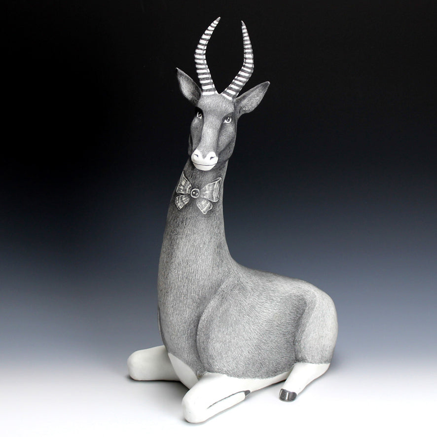 Austyn Taylor Antelope Sculpture with Hand Drawn Graphite Pencil