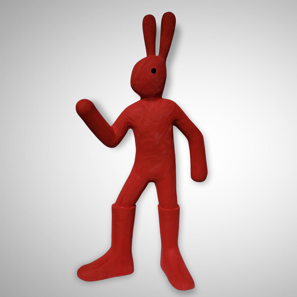 Behold! Red Space Rabbit! This large ceramic rabbit sculpture is looking super fresh, cooked hot at 2232°.  Hippity-hoppity super rabbit...those boots were definitely made for walking!