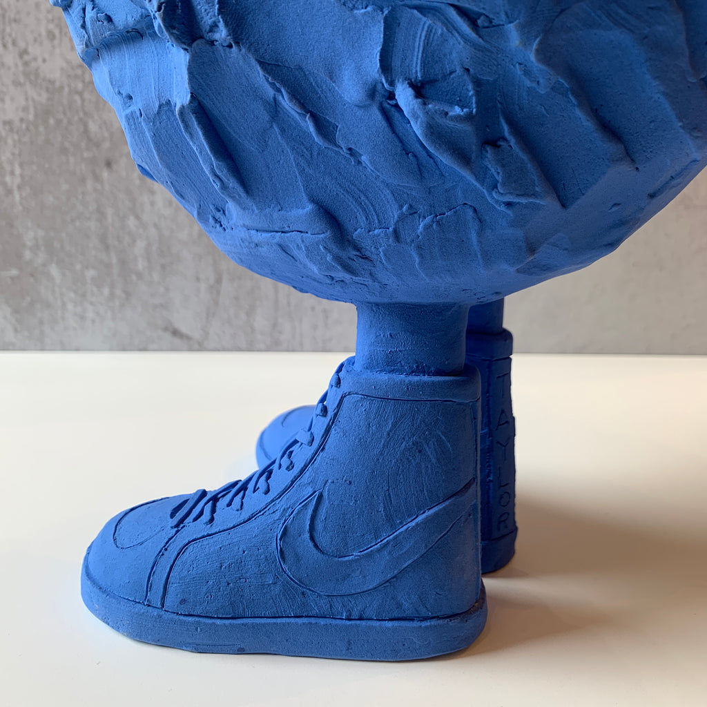 Austyn Taylor Sneaky Duck Blue Sculpture Fuses Pop Culture and Contemporary Art. Check out his Sneaks! Sneaks detail view.