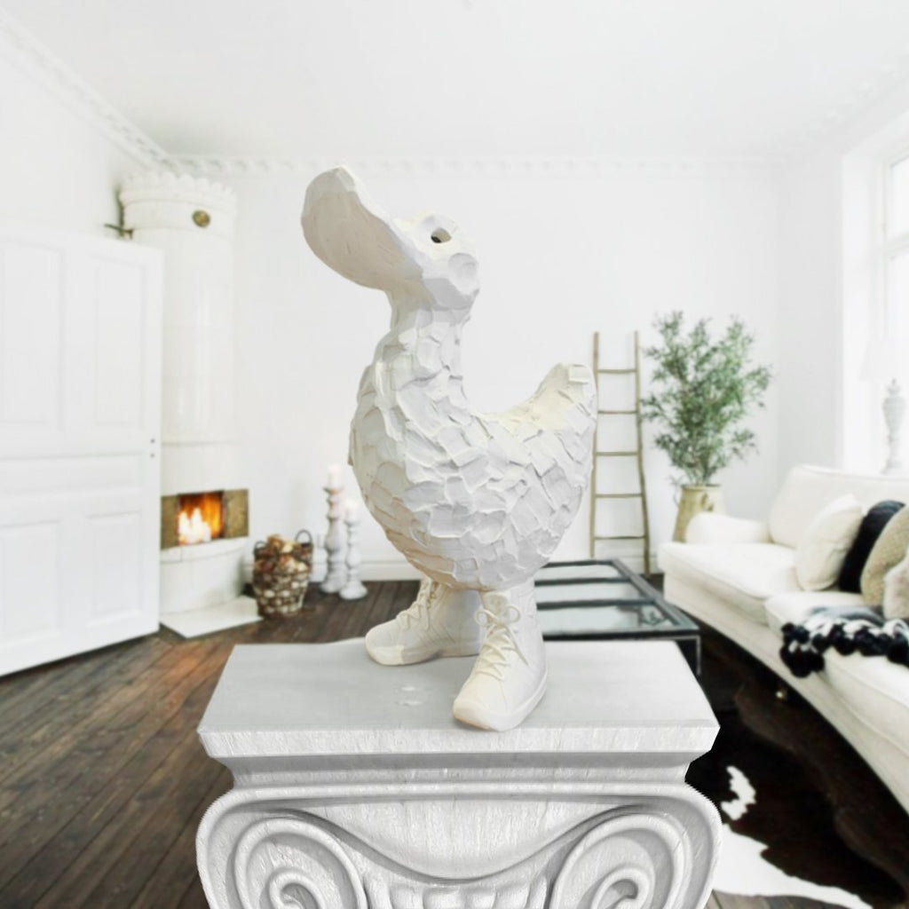 Austyn Taylor Sneaky Duck White Porcelain Sculpture Fuses Pop Culture and Contemporary Art
