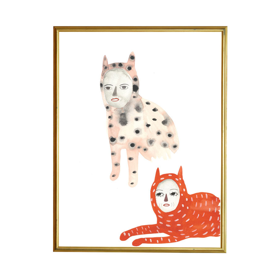 You're the cats pajamas! Cats Painting by Grace Estrada, shown framed.