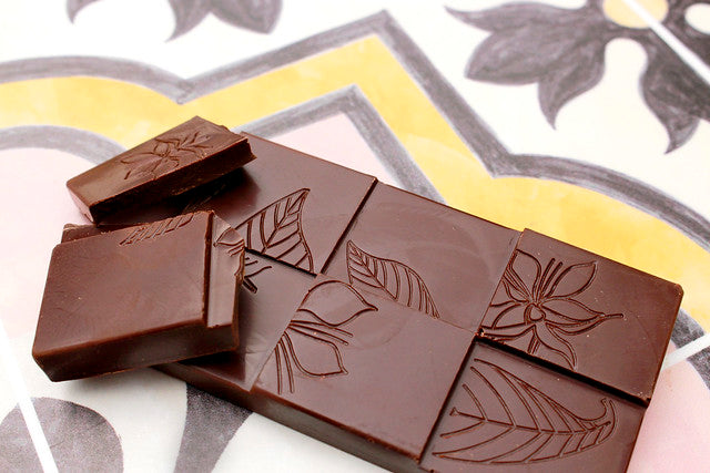 Cru Chocolate roasts and stone grounds the cacao making small batch, silky, bean to bar–food that nourishes your body and lightens your soul.