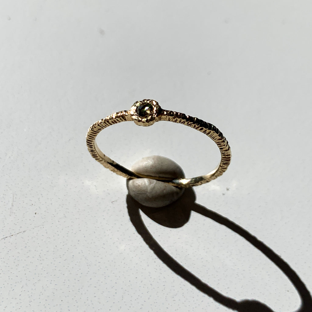 This is a stunning elegance of regal meets modern rough diamond ring. Wear alone or make it a stack.
