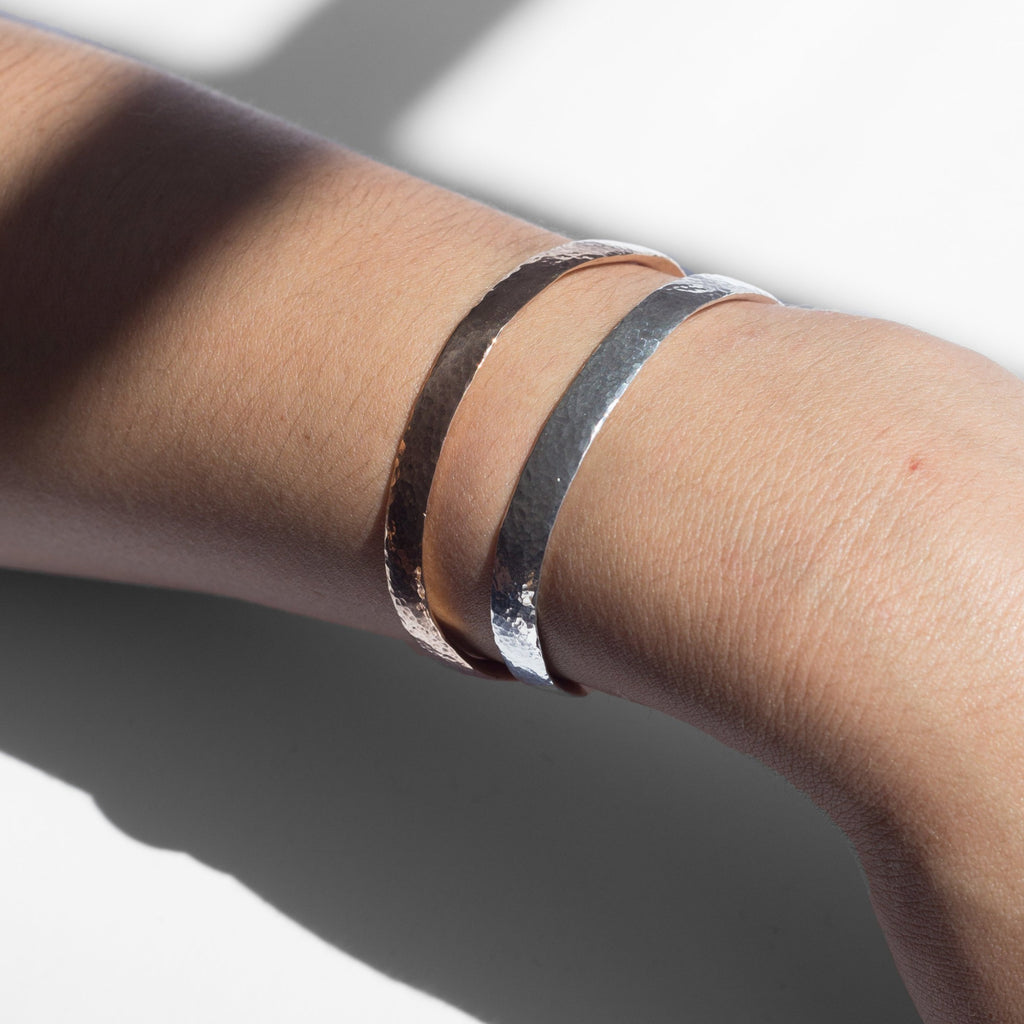 Named after the crescent shape of the moon, which in Alchemy is a symbol of the metal silver and known to be the ruler of the brain. This hand hammered bracelet is an essential element to your accessory collection. Simply put, you'll never want or need to take this bracelet off.