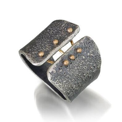 Esther Metals Binding Light Ring in sterling silver and 14k gold.