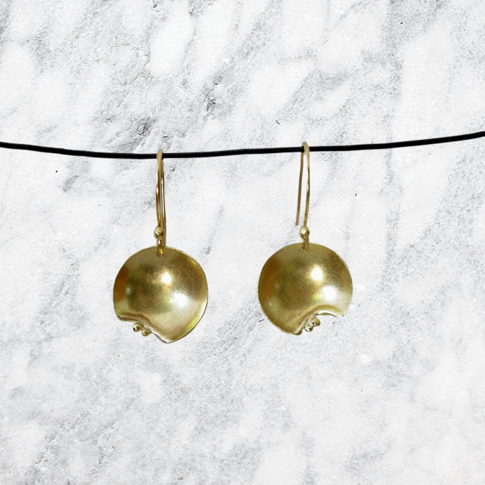 "The Harvest Moon signals the arrival of fall but these earrings can be worn any time of year. So ""go out and feel the night"" with these beautiful handcrafted dangle earrings in 14K yellow gold"