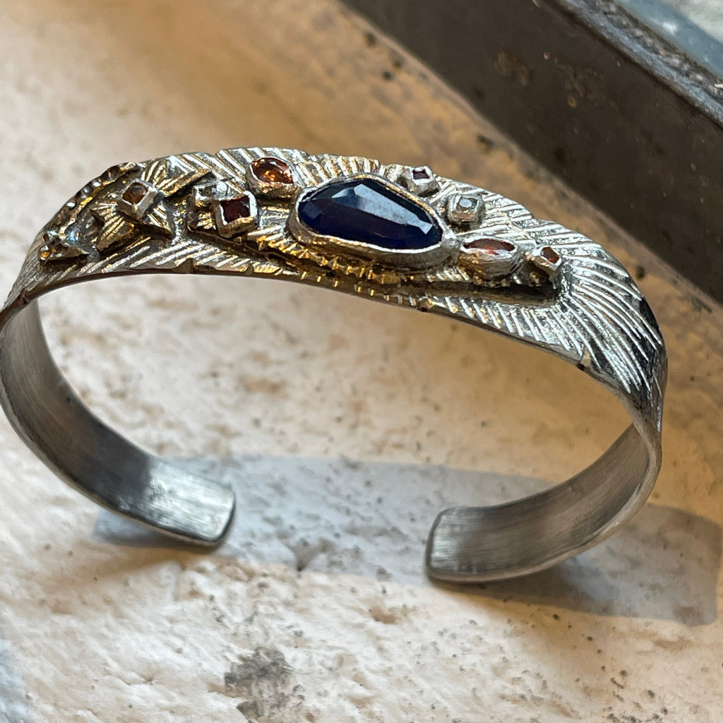 Franny E Fine Hand Formed Fine Silver and Bronze Cuff with Lapis, Citrine, Sapphire and Aquamarine Detail