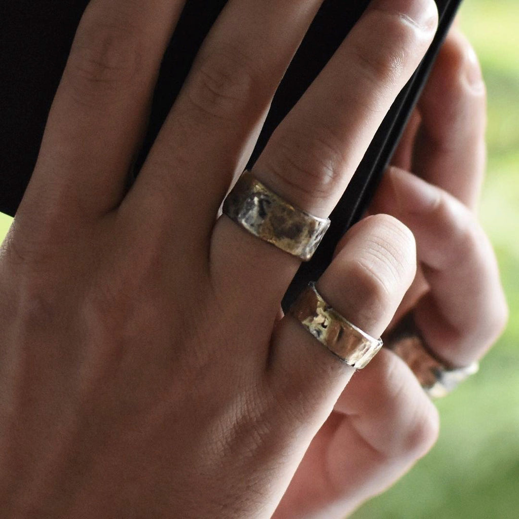 Unisex alternative wedding bands and stacking rings by Franny E Fine shown on model hands