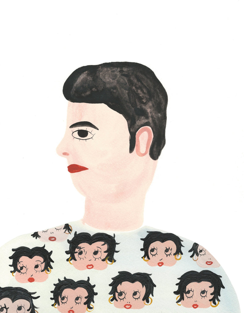 Betty Boop on guy. In her paintings, Grace Estrada pursues themes such as memory, nostalgia, portraiture, loss and bizarre narratives that make sense sometimes.