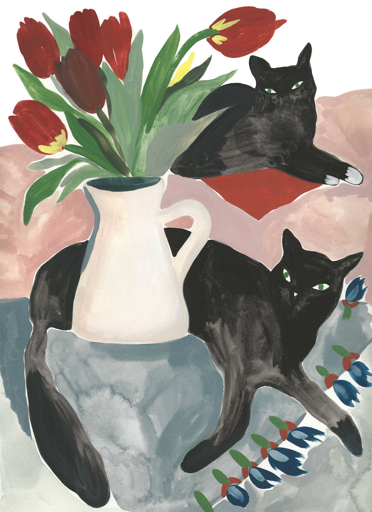 Cats Painting with Tulips by Grace Estrada. Sold as a print reproduction unframed.