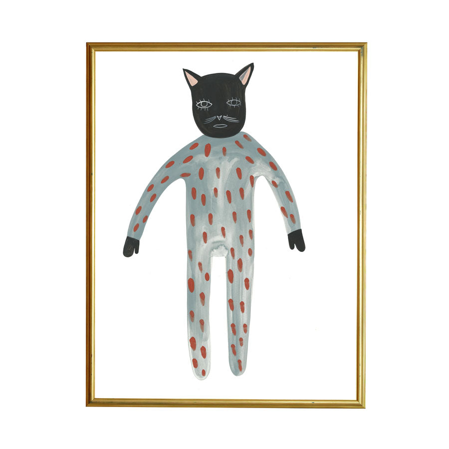 Grace Estrada Blue Pajama Cat. 'Cause there's nothing like pjs all day long. Framed example.