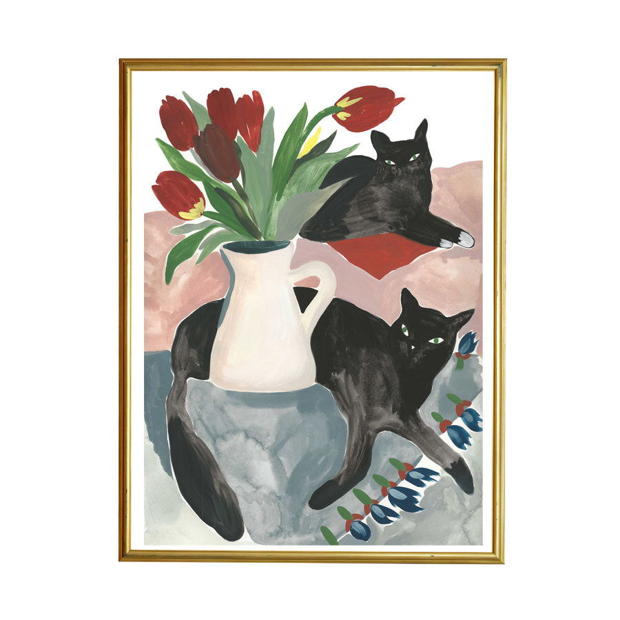 Cats Painting with Tulips is bright and happy and this dreamy pair is a love fest to come home to. For any cat lovers, you get the vibe! Shown as a framed example.