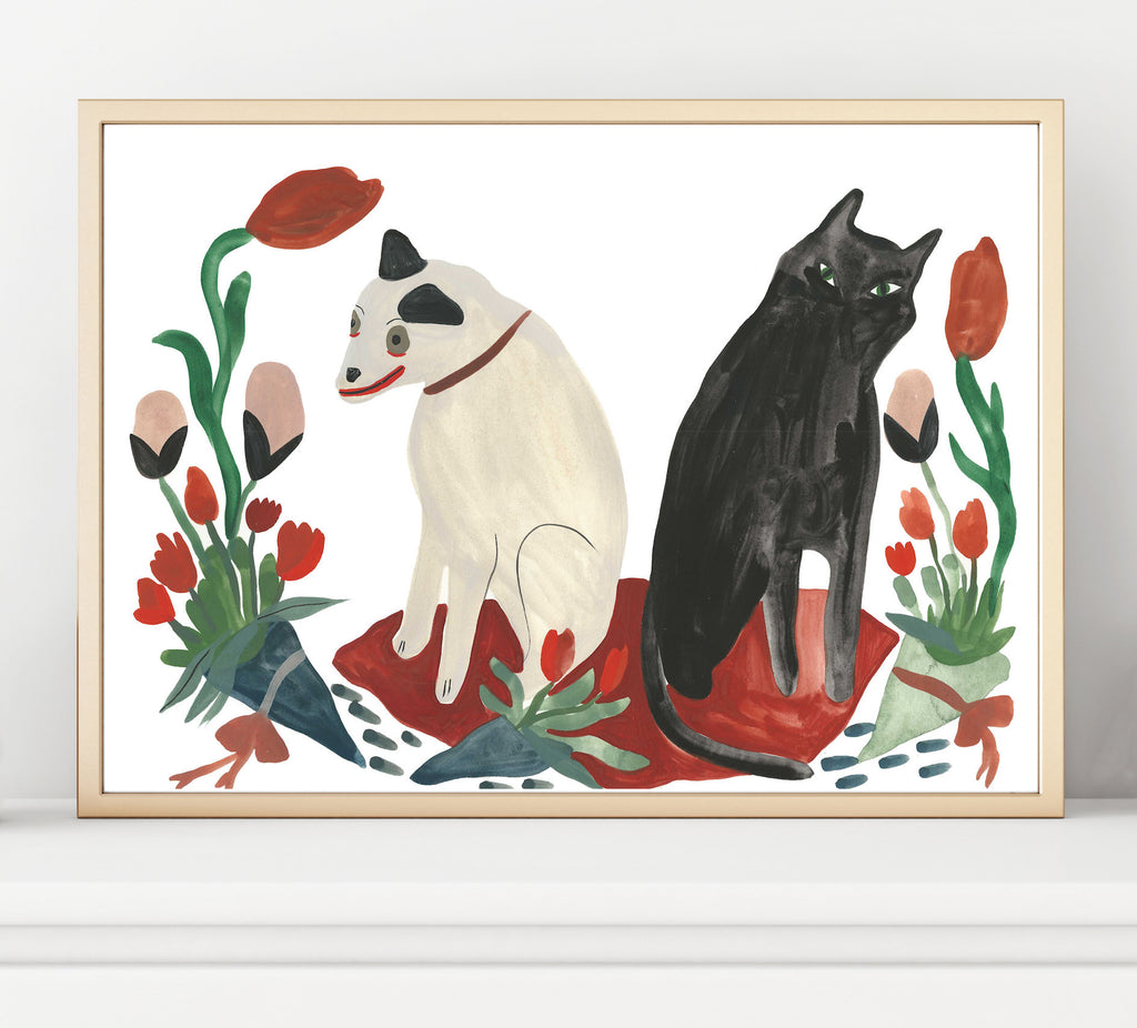 Animal friendships between dogs and cats are more adorable than ever. Grace Estrada painting print shown in a frame example.