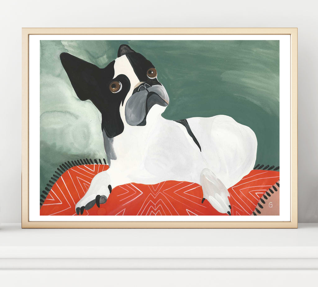 Noile the Dog owns the room. Fall in love with this American Gentleman. Shown framed.