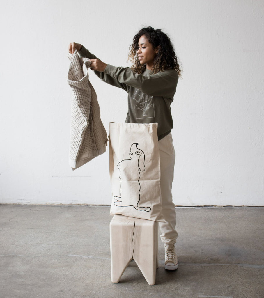 We love this tote bag or duffle bag by Grace Estrada especially for laundry, overnights, as a market bag for fresh groceries and beyond.