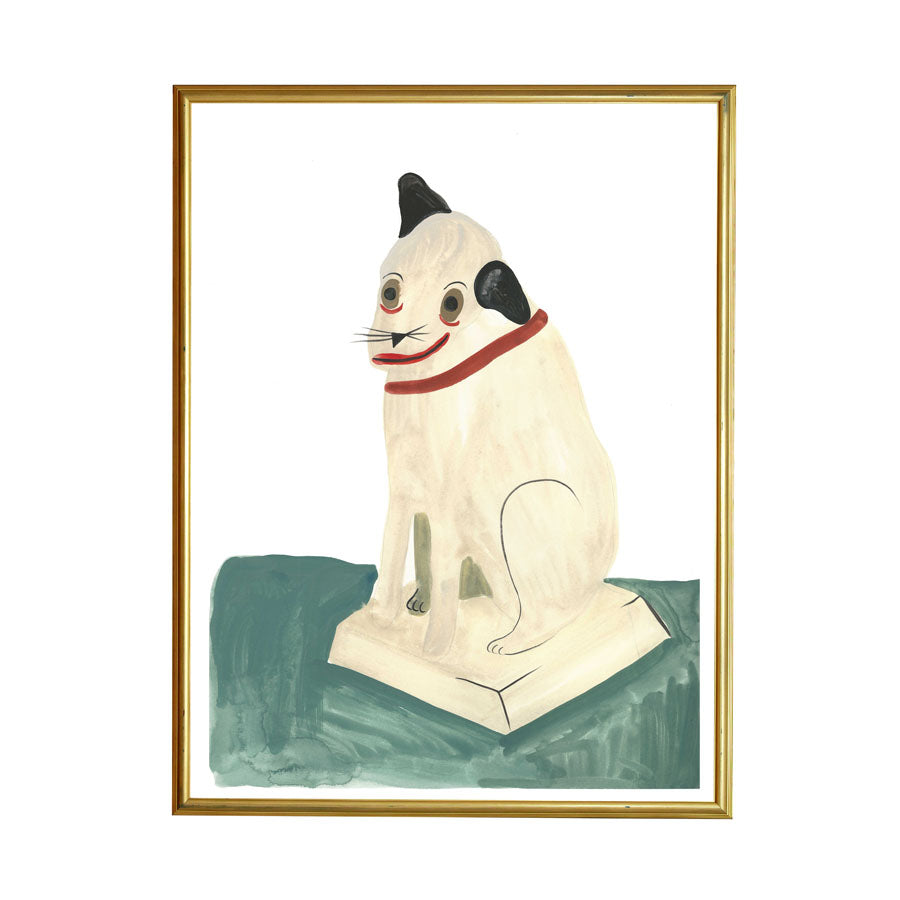 Let's celebrate our differences! With Weird Dog painting shown framed. In her paintings, Grace Estrada pursues themes such as memory, nostalgia, portraiture, loss and bizarre narratives that make sense sometimes. We like it.