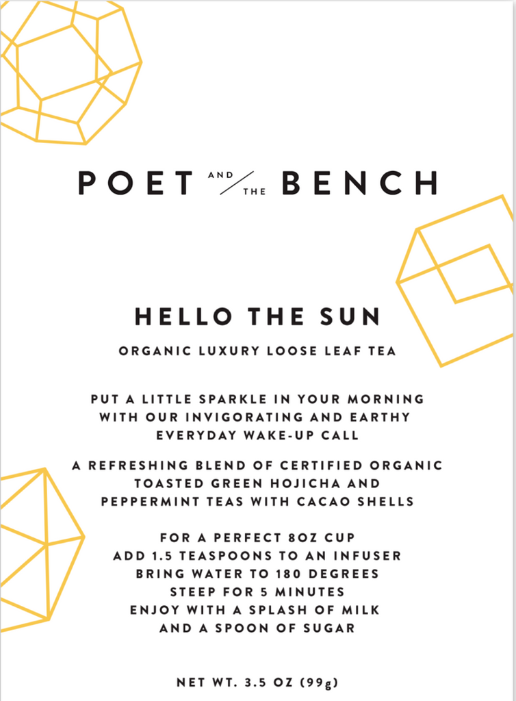 Hello the Sun is an aromatic blend of certified organic loose leaf hojicha and peppermint leaf tea and cacao shells.