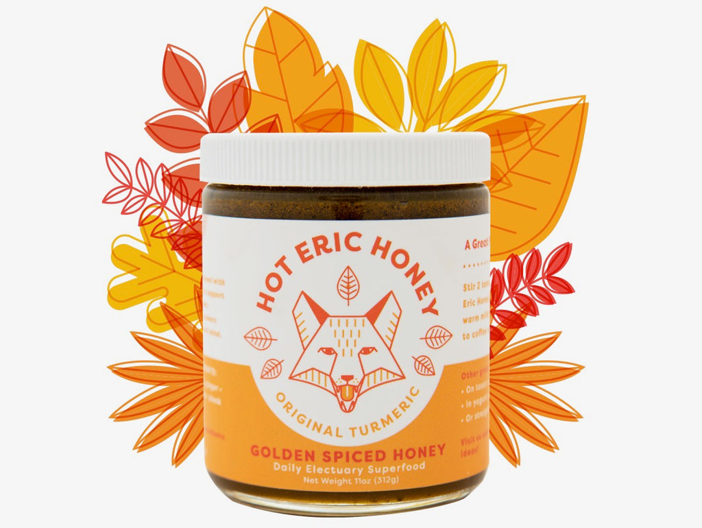 Hot Eric Honey Original Turmeric is Idaho raw honey electuary mixed with turmeric, ginger, coconut oil, cinnamon, black pepper, and clove