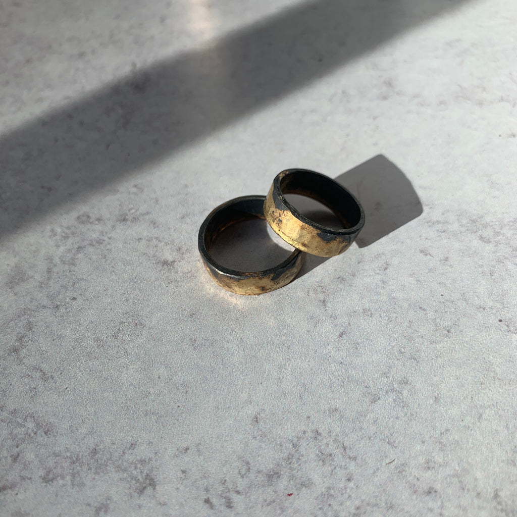Variance Objects Edge bands are mixed metals at their best. A unique and bold wedding band option or looks gorgeous in a ring stack with the designer's single stone and multi-stone stacking rings.