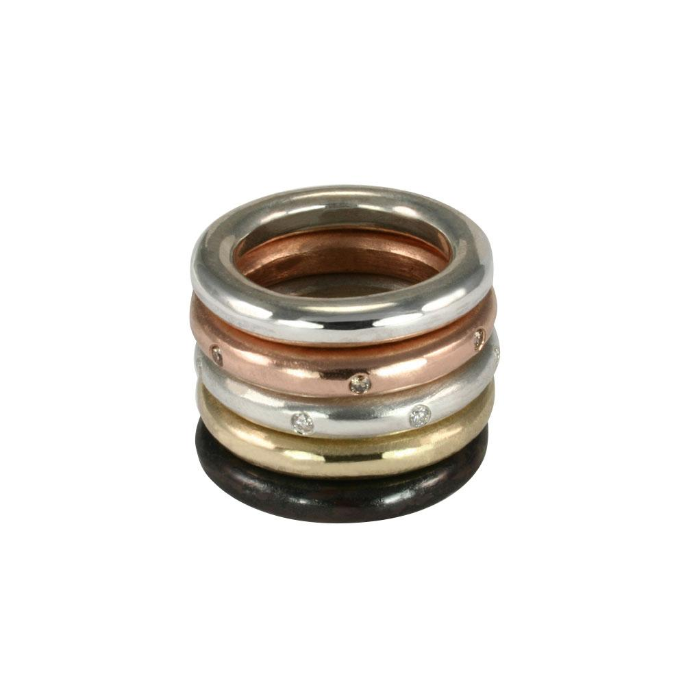 Stunning layered or alone–goes with everything, thick round stacking rings by jewelry designer Jeffrey Levin. Mixed metals available in sterling silver; 14k yellow, white or rose gold; or platinum. Stacking Rings!