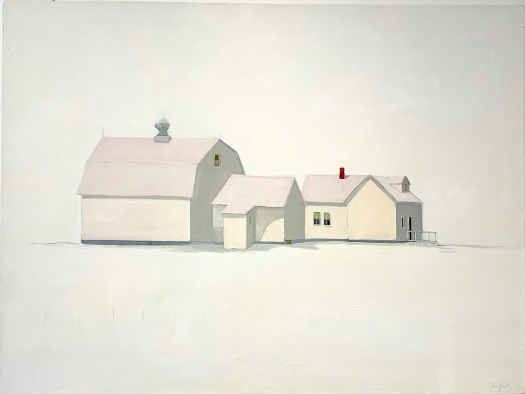 Elegant Simplicity is a stunning, inviting example of Jean Jack's pale, refined palette. The buildings fit themselves into the landscape and the sky fills in the spaces between the two.