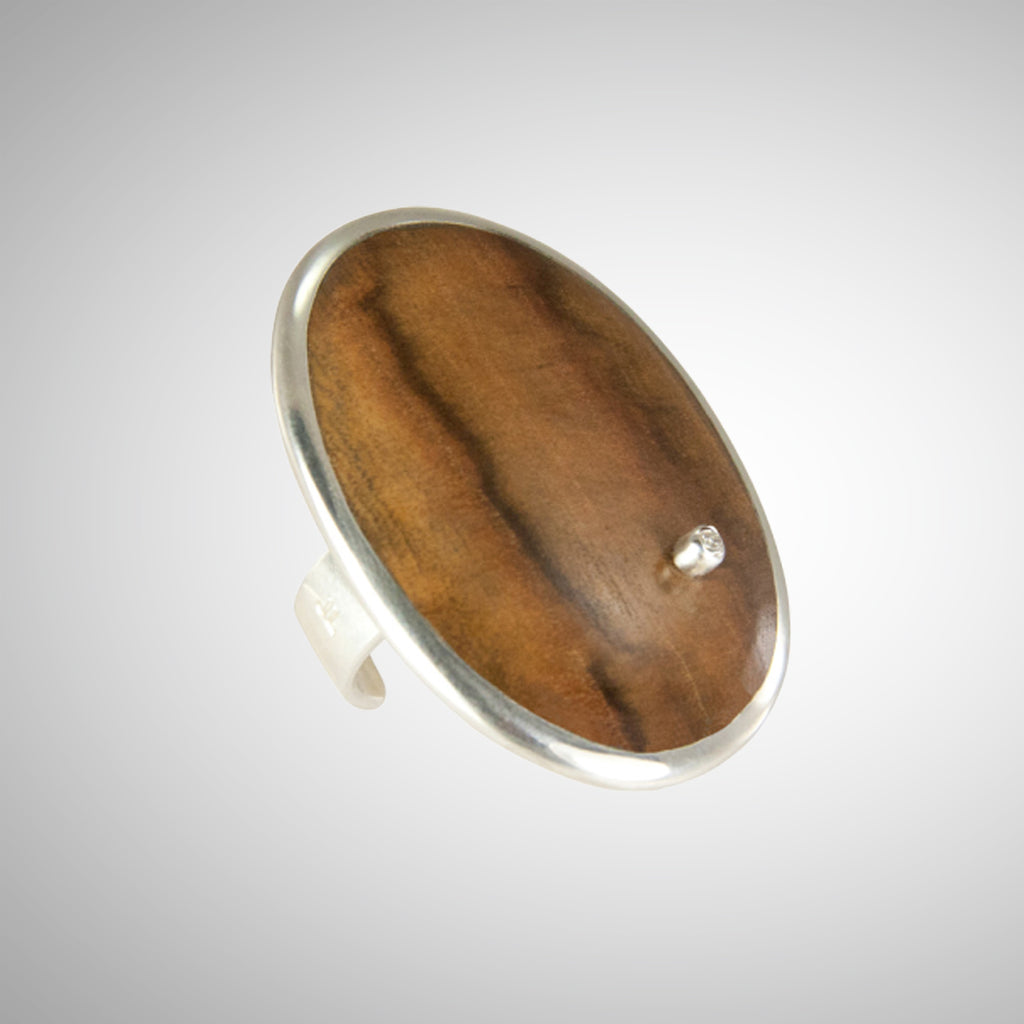 Jeffrey has created a stunning statement ring using reclaimed wood, gorgeously reused.