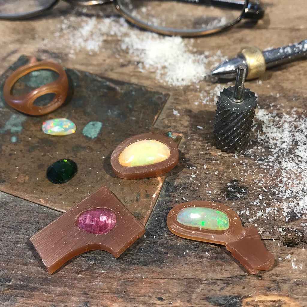 Process of wax carving for bespoke pendants and rings with tourmaline and opals. By Jeffrey Levin.
