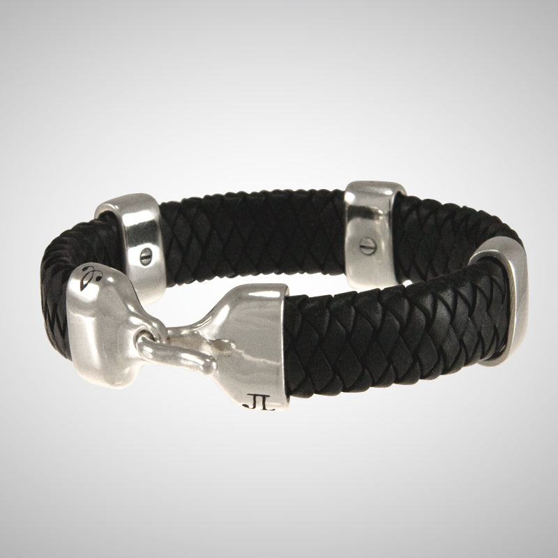 Jeffrey Levin / Bracelet / Braided Leather / Silver Bands