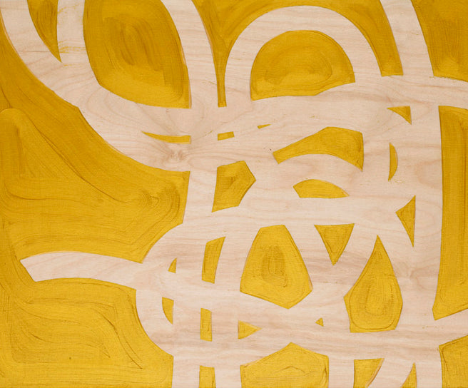 In Jeffrey Palladini's brand new work, the random looping and twisting patterns of a dropped length of twine are a seductive metaphor for the way we get from our aims and dreams to the outcomes. Painted in a metallic gold on wood panel.