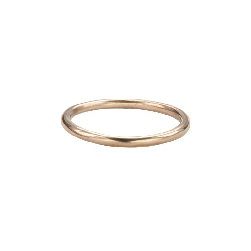 Jeffrey Levin's 14K rose gold super skinny rings pair well with engagement rings and wedding bands.