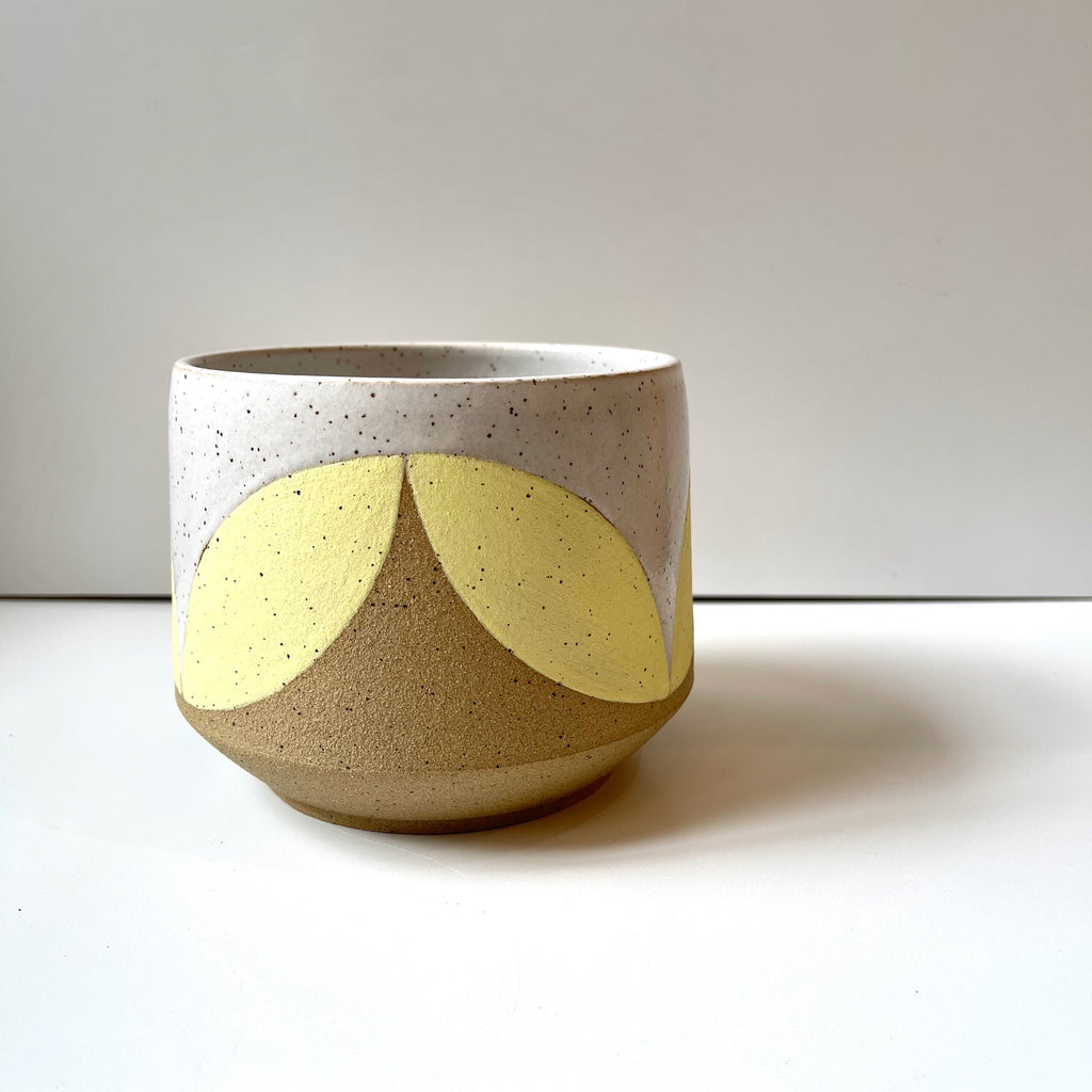 Julems Ceramics planter with yellow leaf design. Alternate side.