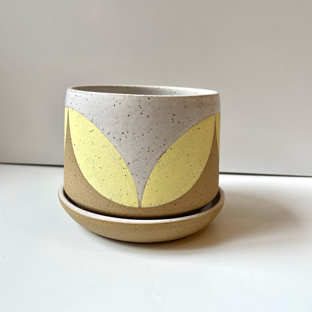 Julems Ceramics planter with yellow leaf design. With saucer.