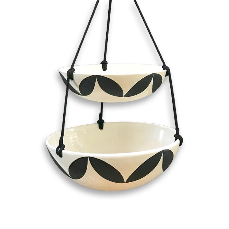 A double-tiered hanging bowl for fresh fruit, veggies and snacks that is also a beautiful accessory for your kitchen.