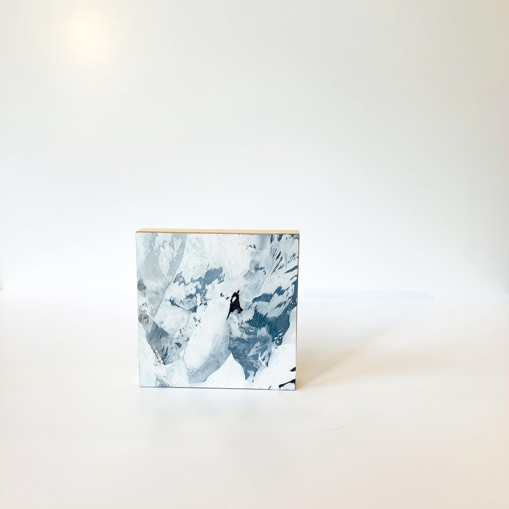 "Her Glacial series are acrylic paintings on Dura-Lar drafting film, adhered to 4"" square wooden panels. Powerful alone and extraordinary hung in many. This is Glacial 02."