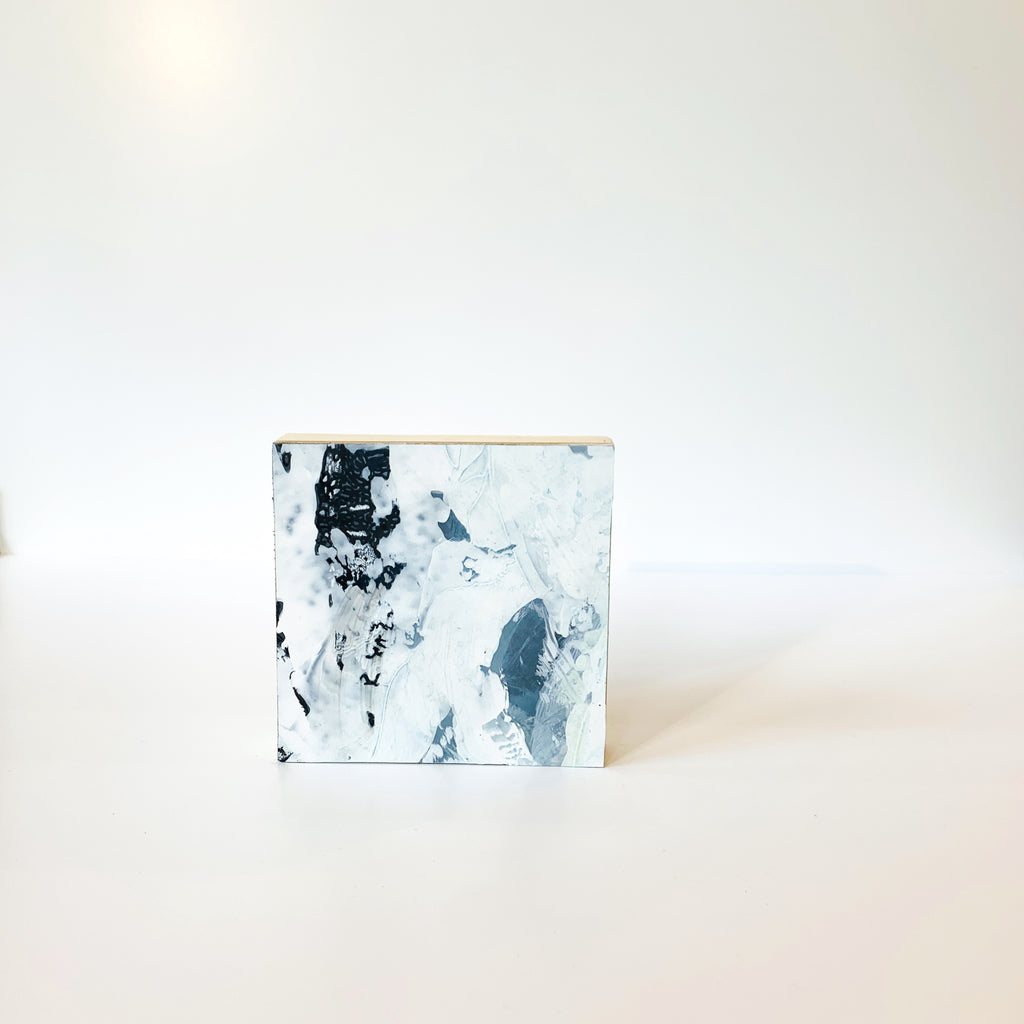 "Her Glacial series are acrylic paintings on Dura-Lar drafting film, adhered to 4"" square wooden panels. Powerful alone and extraordinary hung in many. This is Glacial 04"
