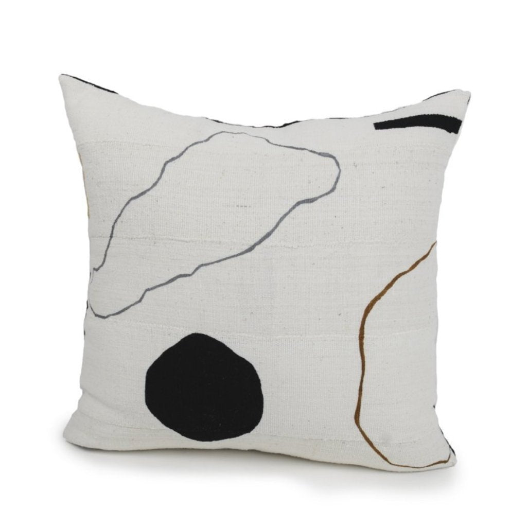 We love designer Kalla McGuire's use of hand loomed cotton remnants from sustainable fabric designers, sewn together to create a new pattern. For Landscape no 6 pillow.