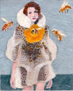 The ABC Girls are each named after a letter in the alphabet. Bella Bee, in her honeycomb coat and large floral brooch, is one of Linda Benenati's über-chic fashionable female portraits.