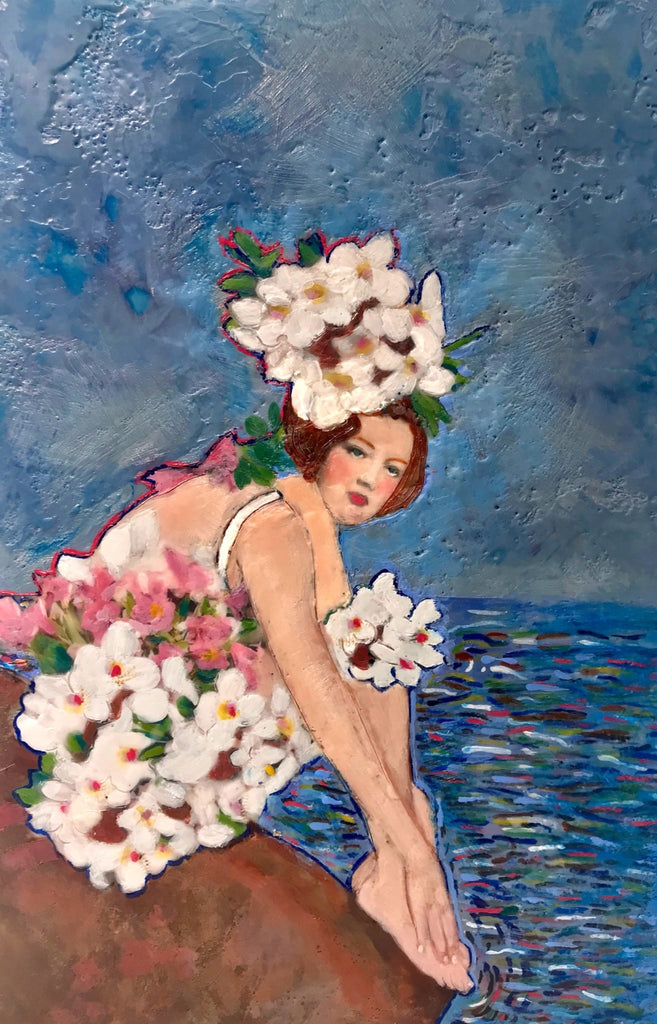 Daphne Down by the Danube Encaustic collage by Linda Benenati.