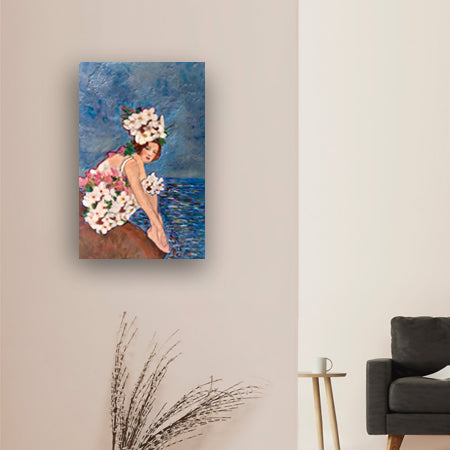 Daphne Down by the Danube Encaustic collage by Linda Benenati. Shown in interior environment