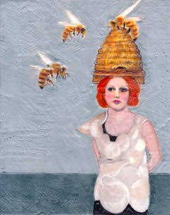 The ABC Girls are each named after a letter in the alphabet. Frieda Bee, in her tall beehive hat, is one of Linda Benenati's über-chic fashionable female portraits.
