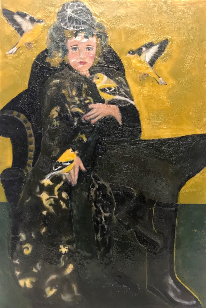 The brilliant yellow and shiny black bird with a pleasant song is a stunning complement to Gilda's velveteen long coat. Gilda and the Goldfinches encaustic has a rich depth, beautiful composition and exudes sublime happiness.